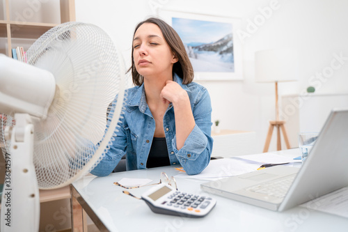 Portrait of one woman refreshing during summer heatwave Fotobehang