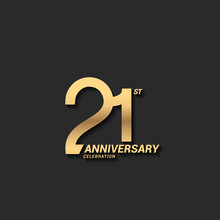 21 Years Anniversary Celebration Logotype With Elegant Modern Number Gold Color For Celebration