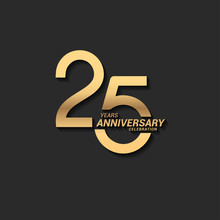 25 Years Anniversary Celebration Logotype With Elegant Modern Number Gold Color For Celebration