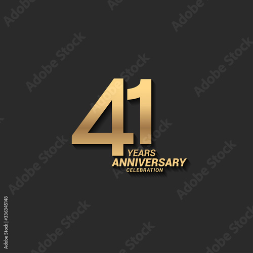 Tela 41 years anniversary celebration logotype with elegant modern number gold color