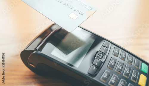 Contactless payment for purchases by card Canvas Print