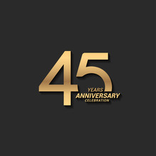 45 Years Anniversary Celebration Logotype With Elegant Modern Number Gold Color For Celebration