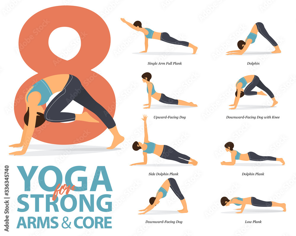 Fototapeta Infographic of 8 Yoga poses for Strong arms and core in flat design. Beauty woman is doing exercise for body stretching. Set of yoga at home infographic . Vector Illustration.