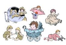 Set With Newborns In Vintage S...
