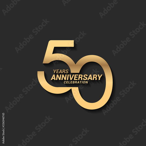 Fotografiet 50 years anniversary celebration logotype with elegant modern number gold color