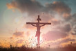 canvas print picture - Silhouette Jesus christdeathon cross crucifixion on calvary hill in sunset good friday risen in easter day concept for Christianpraise forholy spirit religiousGod,Catholic prayingbackground.