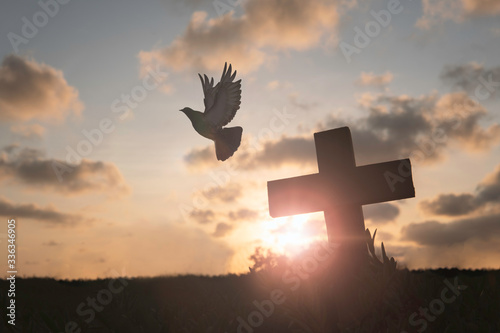 Leinwand Poster Silhouette Jesus christ death on cross crucifixion on calvary hill in sunset good friday risen in easter day concept for Christian praise for holy spirit religious God, Catholic praying background