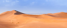 Sand Dune In The Sahara / In The Sahara Desert, Sand Dunes To The Horizon, Morocco, Africa.