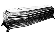 COFFIN Hand Carved - Original Vintage 1880s Victorian Age Illustration