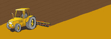 Tractor Plows The Land. Agricultural Farming Field Landscape. Plowed Earth. Brown Dirt. Spring Soil. Copy Space. Vector Illustration.