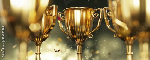 close up golden trophy award with falling confetti Fototapeta