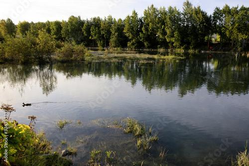 Anchorage, Alaska / USA - August 08, 2019: The river in Anchorage, Anchorage, Al Canvas Print