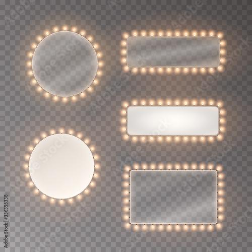 Εκτύπωση καμβά Light rectangle banner set isolated on transparent background
