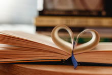 Book With Open Page In Heart S...