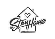 Vector Illustration: Handwritten Hashtag Lettering Of Stay Home With Hand Drawn House.