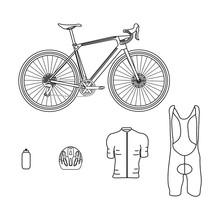 Gravel Bike Kit On White Background Vector