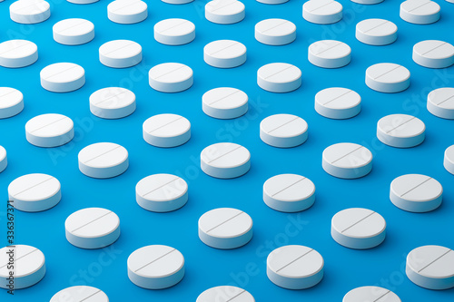 White pills of many painkillers with a pattern on a medical background Wallpaper Mural