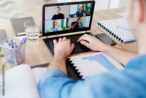 Video conference with workmates but from home Fototapeta