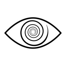 Stylistic Human Eye Spiral. The Concept Of Esotericism And The Third Eye In Many Religions. Logo.
