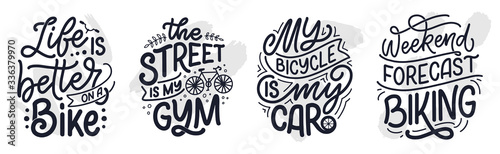 Fotografie, Tablou Set woth lettering slogans about bicycle for poster, print and t shirt design