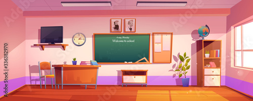 Fotomural Empty classroom with inscription Welcome to school on chalkboard