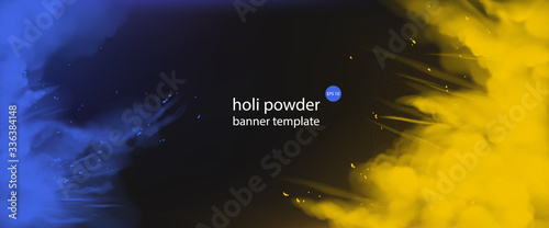 Holi powder paints empty banner template, horizontal border with blue and yellow color splashes on black background colorful cloud or explosion, indian festival ad Slika na platnu