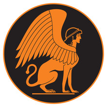 Ancient Greek Sphinx Ceramic Red Figure Vase Paint Style Vector Illustration, A Demon Of Esoteric Wisdom In The Greece Mythology With The Body Of A Lion, The Head Of A Woman And The Wings Of An Eagle