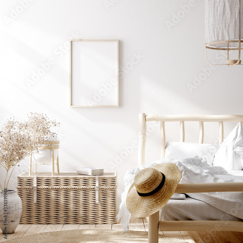 Mockup frame in farmhouse bedroom interior background, 3d render