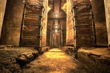 Old Abandoned Oil Cellar Corri...