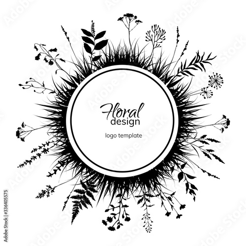 Valokuvatapetti Round floral design template with black silhouettes of meadow herbs