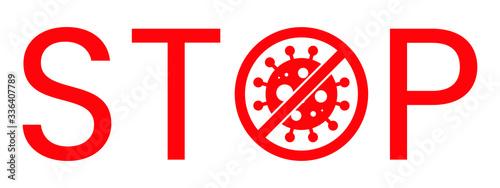 Wuhan Corona Virus Stop Text Warning Sign Canvas Print