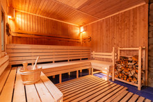 Sauna Bathhouse Warm Interior Inside Empty Brooms Barrels Bucket For Water