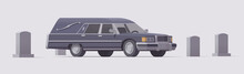 Vector Vintage Funeral Hearse Car In Cemetery. Isolated Illustration