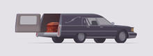 Vector Vintage Funeral Hearse Car With Coffin Inside. Isolated Illustration