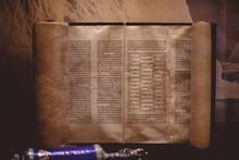 Closeup Of A Hebrew Bible Writ...