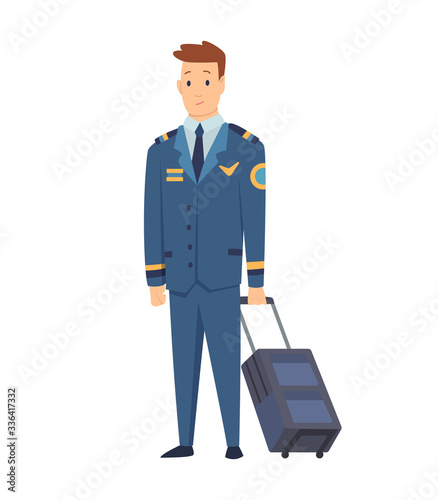 Photo Smiling civilian aircraft pilot, aircrew captain, aviator or airman dressed in uniform with suitcase