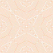 Geometric Lines Seamless Pattern. Abstract Vector Texture With Broken Lines, Stripes, Stars Shapes, Octagons. Simple Graphic Background In Peach Color. Modern Linear Ornament. Stylish Repeat Design