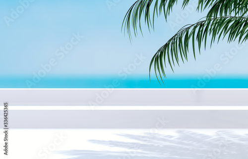 Fototapeta Natural summer beach backdrop with palm tree shadow for product display. Abstract 3d summer scene. sea view. obraz