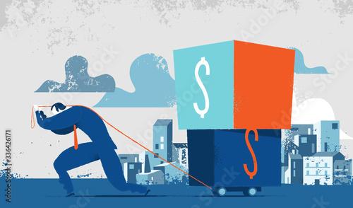 Fototapeta Uomo che fa fatica a portare scatole pesanti con il simbolo del dollaro. Concetto per peso delle tasse, debiti finanziari, fatica di pagare gli interessi agli creditori obraz