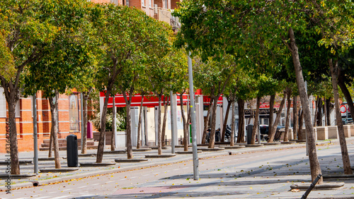 Madrid,spain-04/06/20 empty streets of the arganzuela neighborhood in madrid dur Canvas Print