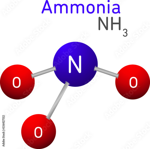 Photo Ammonia NH3 Structural Chemical Formula Model