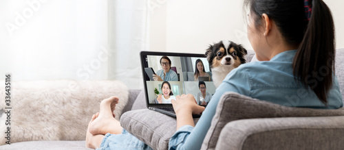 Obraz Banner of Asian woman on sofa and team on laptop screen talking and discussion in video conference and dog interruption.Working from home, Working remotely, Pets interruption and Self-isolation. - fototapety do salonu