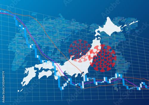 日本経済に影響を与えるコロナウイルス Canvas Print