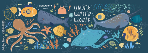 Obraz na płótnie Underwater world! Vector cute illustration ocean or sea with octopus, whale, narwhal, jellyfish, various fish, water marine animals and plants isolated objects set