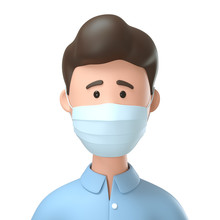 Portrait Of Man Wearing Medical Mask For Protection From Coronavirus Infection. 3D Illustration Of Cartoon Excited Male Character Isolated On White Background.