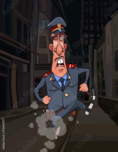cartoon traffic police inspector funny runs along the street of a night city Tableau sur Toile