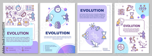 Fototapeta Evolution brochure template. Natural selection and genetic drift. Flyer, booklet, leaflet print, cover design with linear icons. Vector layouts for magazines, annual reports, advertising posters obraz