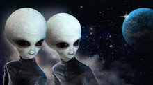 Two Space Aliens In Black Jump...