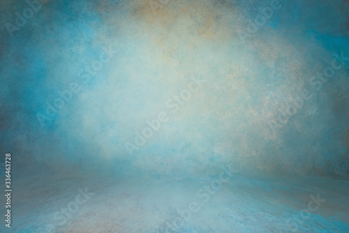 backdrop green wall background with floor with texture grunge texture with relief spotlight illuminated Fotobehang