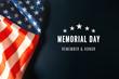 Leinwandbild Motiv Memorial Day with American flag on blue background